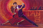 Color Purple Painting Posters - Tango Poster by Debi Pople