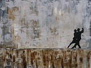 Ballroom Dance Paintings - Tango en la Calle by Gino Savarino