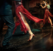 Red Skirt Prints - Tango Reflection Print by Michel Verhoef
