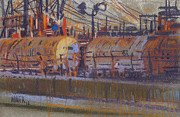 Industrial Pastels Originals - Tanker Fill Point by Donald Maier
