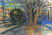Industrial Pastels Originals - Tankers on the Line by Donald Maier