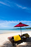 Lounge Prints - Tanning beds on a tropical beach Koh samui Thailand Print by Fototrav Print