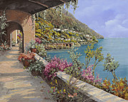Red Flowers Painting Metal Prints - Tanti Fiori Sulla Terrazza Metal Print by Guido Borelli