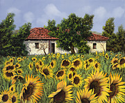 Chianti Tuscany Paintings - Tanti Girasoli Davanti by Guido Borelli