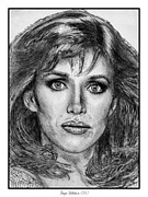 Actresses Drawings Framed Prints - Tanya Roberts in 1981 Framed Print by J McCombie