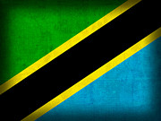 Africa Mixed Media Prints - Tanzania Flag Distressed Vintage Finish Print by Design Turnpike