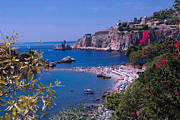 Dany Lison Framed Prints - Taormina Beach Framed Print by Dany Lison
