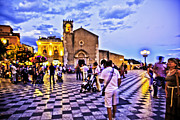Women Children Photo Prints - Taormina Tourists - Sicily Print by Madeline Ellis