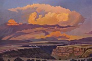 Pastel Paintings - Taos Gorge - Pastel Sky by Art West
