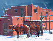 Taos Painting Prints - Taos Horses Print by Randy Follis