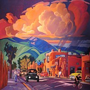 Colorful Village Posters - Taos Inn Monsoon Poster by Art West
