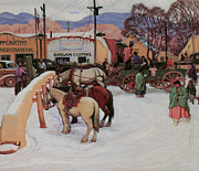 Snow Horses Framed Prints - Taos Plaza Winter Framed Print by E Martin Hennings