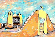 Fine American Art Drawings Posters - Taos Pueblo Church Poster by Peter Art Prints Posters Gallery