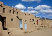 Native Architecture Posters - Taos Pueblo Poster by Elvira Butler