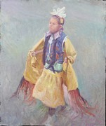 Churches Painting Originals - Taos Pueblo Princess by Ernest Principato