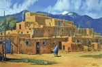 Taos Painting Prints - Taos Pueblo Print by Randy Follis