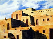 Taos Framed Prints - Taos Pueblo Framed Print by Sam Sidders