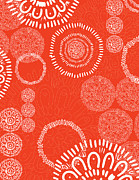 Pattern Digital Art Posters - Tapestry - orange Poster by Khristian Howell