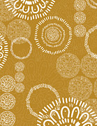 Flower Design Digital Art Prints - Tapestry - mustard Print by Khristian Howell