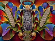 Corn Painting Framed Prints - Tapestry of Gods-Chicomecoatl Framed Print by Ricardo Chavez-Mendez