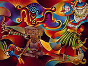 Aztec Paintings - Tapestry of Gods-Huehueteotl by Ricardo Chavez-Mendez