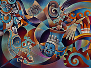 Aztec Paintings - Tapestry of Gods-Tlaloc by Ricardo Chavez-Mendez