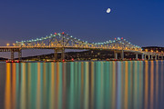 Gibbous Moon Prints - Tappan Zee Bridge Reflections Print by Susan Candelario