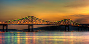 Westchester County Framed Prints - Tappan Zee Bridge Twilight IV Panoramic Framed Print by Clarence Holmes