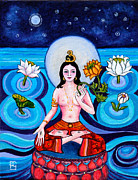 Buddha Tara Posters - Tara in Moonlight Poster by Peta Garnaut