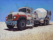 Truck Pastels Prints - Tarbet Cement Truck Print by Tracy L Teeter