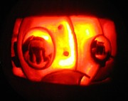 Carving Sculpture Prints - Tarboy Pumpkin Print by Shawn Dall
