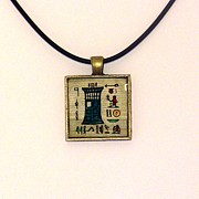 Science Fiction Jewelry Prints - TARDIS Faux Artifact Miniature Painting on Papyrus Mounted in Pendant Print by Pet Serrano