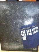 Fandom Painting Metal Prints - TARDIS in Space Metal Print by Jessica Vass
