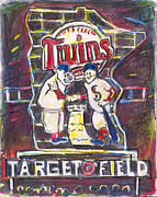Baseball Painting Framed Prints - Target Field at Night Framed Print by Matt Gaudian