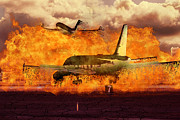 Frontier Airlines Prints - Tarmac Burning Print by Israel Curiel