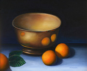 Orange Art - Tarnished silver bowl and oranges by Jennifer Richards