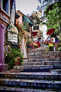 Medieval Metal Prints - Taromina Steps Sicily Metal Print by David Smith