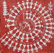 Mother And Child Greeting Cards Posters - TARPA DANCE ORIGINAL WARLI PAINTING- Indian Tribal Art Poster by Aboli Salunkhe