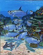 Sharks Painting Metal Prints - Tarpon Alley In0019 Metal Print by Carey Chen