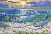 Jamaica Paintings - Tarpon cut by Carey Chen
