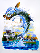 Striped Bass Paintings - Tarpon leap by Carey Chen