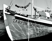 Greek Icon Posters - Tarpon Springs Spongeboat Black And White Poster by Benjamin Yeager