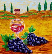 Wine Glasses Paintings - Taste of Italy by Annie Zeno