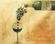 Wine Bottle Paintings - Taste of Life by Sheri  Chakamian