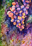 Vine Grapes Painting Posters - Taste of the Sun Poster by Zaira Dzhaubaeva