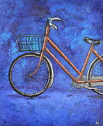 Cycling Art Paintings - Tastes Orangey by Sara Gardner