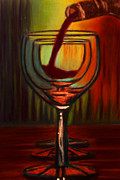 Wine Glasses Pastels Posters - Tasting Room Trio Poster by D Rogale