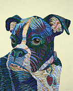 Boxer Paintings - Tater - Portrait of a Boxer by Erika Pochybova-Johnson