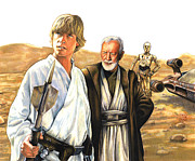 Star Framed Prints - Tatooine Massacre Framed Print by Edward Draganski