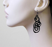 Laser Cut Jewelry - Tattoo Art Earrings by Rony Bank